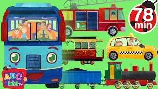 wheels on the bus and vehicles   more nursery rhymes kids songs abckidtv