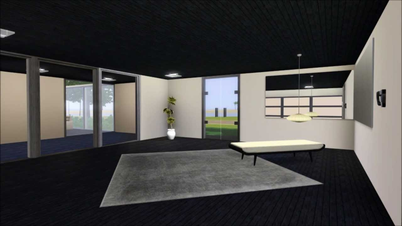 The sims 3 modern house with high ceilings living room for Modern living room high ceiling