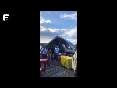 Área lounge do flutuante Abaré afunda após banzeiro