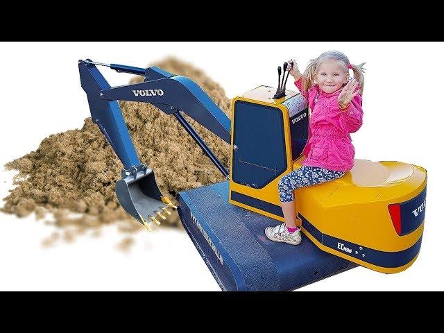 Экскаватор для детей #Машинка Машинка застряла в песке на помощь приехал большой экскаватор