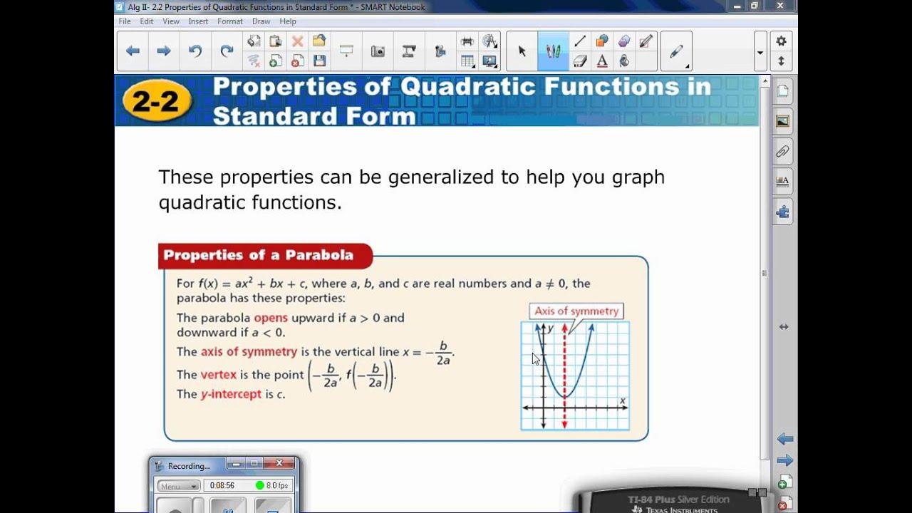 Standard form of a vertical line gallery standard form examples algebra ii 22 properties of quadratics functions in standard algebra ii 22 properties of quadratics functions falaconquin