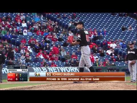 Ichiro lanza para los Marlins