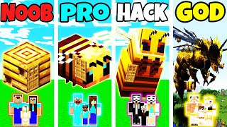 Minecraft: FAMILY BEE HOUSE BUILD CHALLENGE - NOOB vs PRO vs HACKER vs GOD in Minecraft