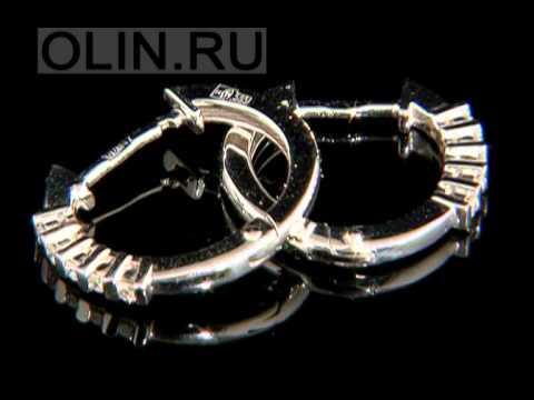 Золотые серьги-кольца с бриллиантами