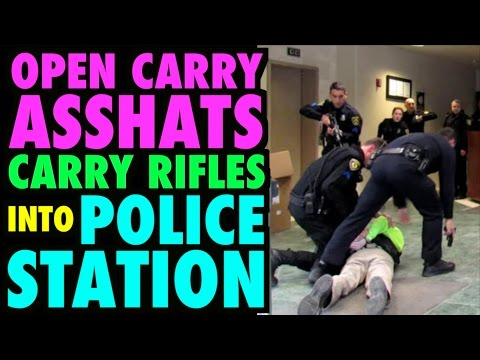 Open Carry Asshats Carry Rifles into Police Station