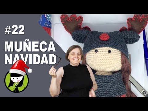 Gorro de reno para la muñeca navideña tejida a crochet 22 amigurumis de navidad