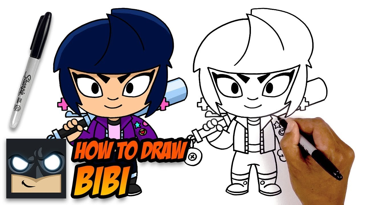 How To Draw Bibi Brawl Stars Step By Step Tutorial Youtube