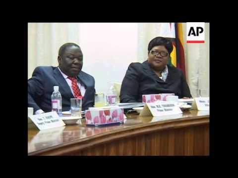 Tsvangirai and Mugabe at first security council meeting