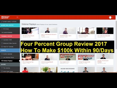 Four Percent Group Review 2017 How To Make Money $100k Within 90 Days