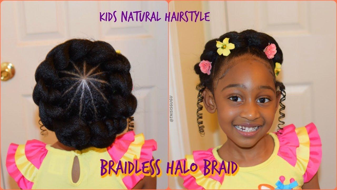 Easy Braidless Halo Braid Beginner Friendly Kids Natural Hairstyle