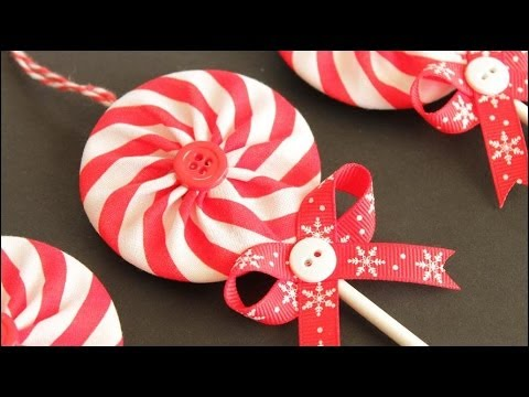 fabric yo yo lollipop christmas ornaments - Lollipop Christmas Decorations