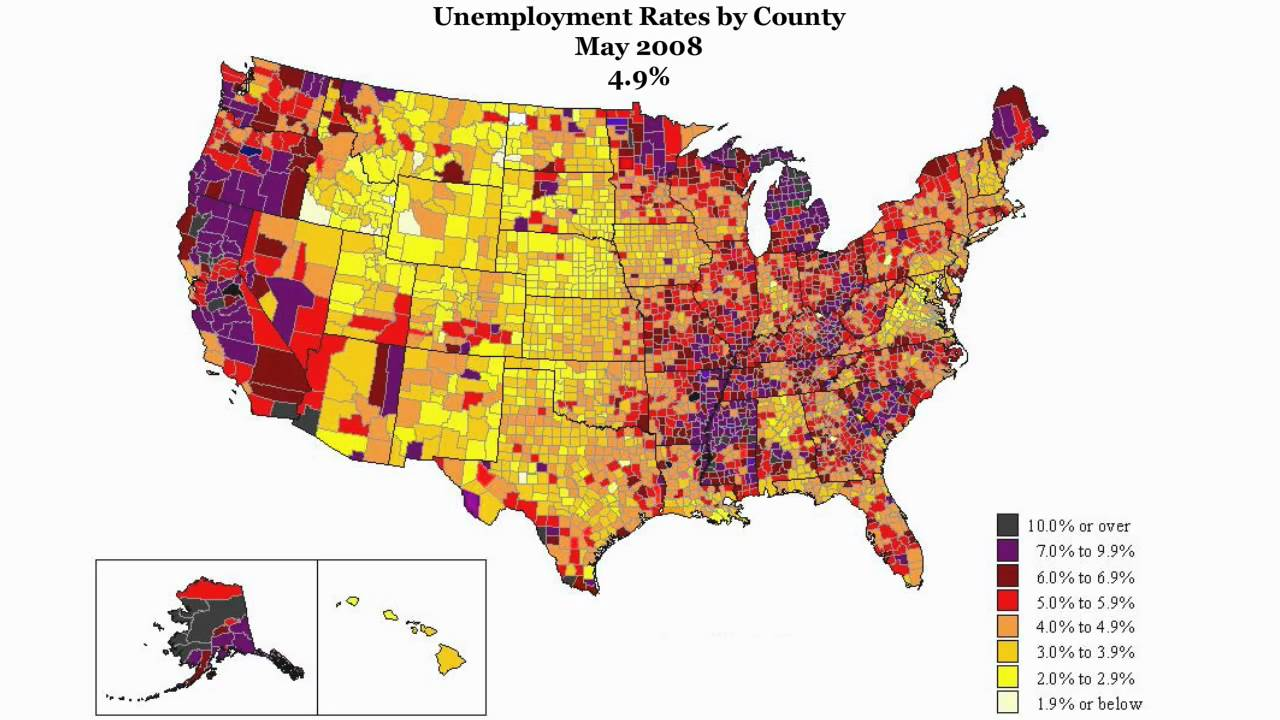 Map Of Us Unemployment Shocking US Map Animation of Unemployment Rate from January 2007