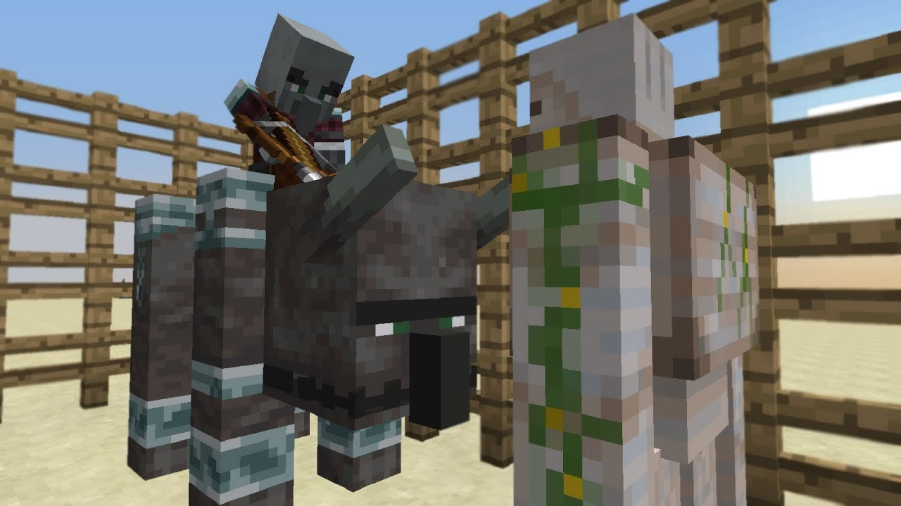 Illager Beast Patrol Vs Iron Golem Minecraft 1 14 Experiment