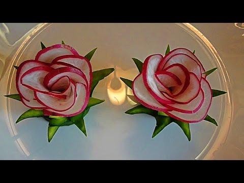 Как вырезать цветок из редиски фото
