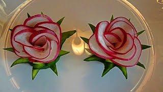 Цветы из редиса. Украшения из овощей. Flowers radish. Decoration of Vegetables.