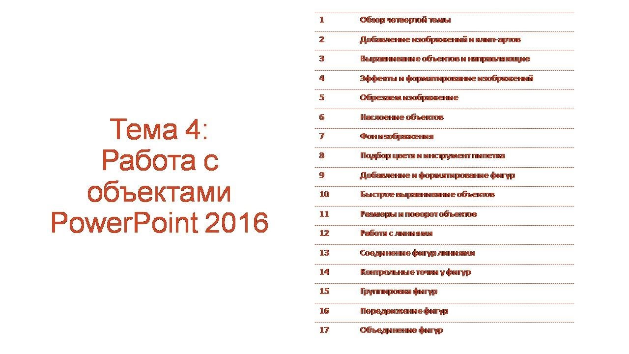 Тема 4: Работа с объектами Microsoft Office PowerPoint 2016