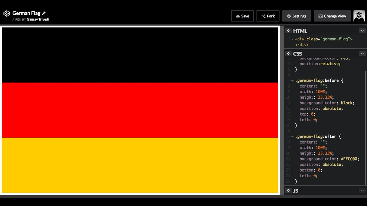 How to Draw the German flag in HTML and CSS3 Flag of Germany
