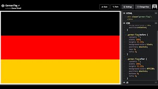How to Draw the German flag in HTML and CSS3. Flag of Germany (Bundesflagge und Handelsflagge).
