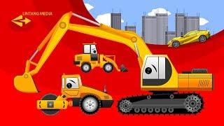 Video belajar mengenal warna untuk anak balita dengan animasi excavator dan alat berat lain sedang membangun jalan raya berwarna untuk dilewati mobil cantik....