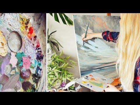 ARTIST VLOG | Acrylic Seascape Painting & Photographing Artwork