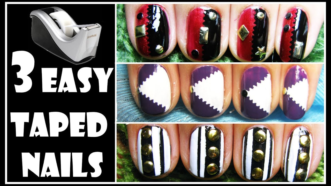 3 easy taped nails how to stud nail art design tutorial for 3 easy taped nails how to stud nail art design tutorial for short nails iron man beginners 2013 youtube prinsesfo Image collections