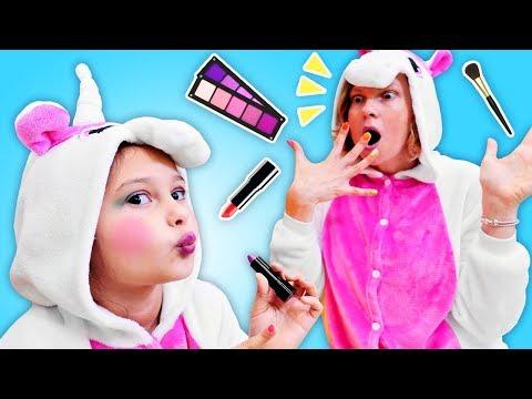 Смешное видео шоу - Милая Единорожка и мамина Косметика! – Детские игры одевалки и макияж.