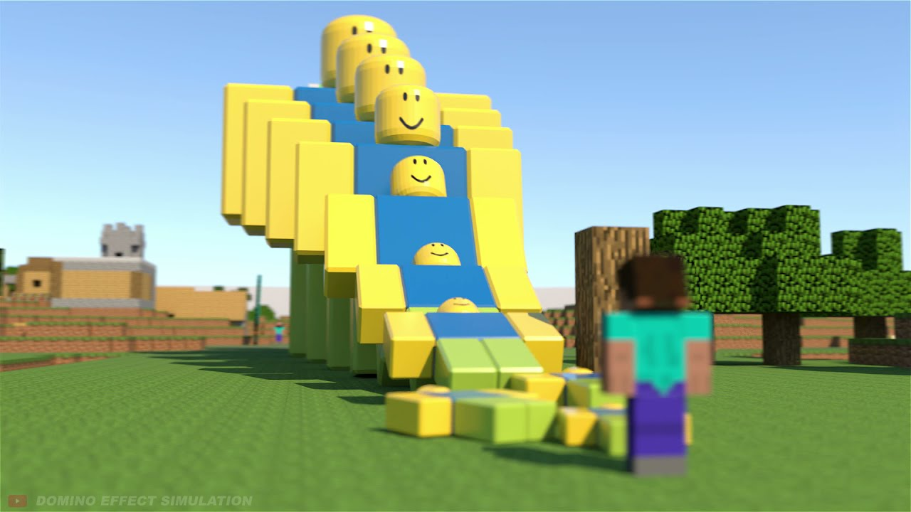 Minecraft vs Roblox - Domino effect - Oddly Satisfying 😉