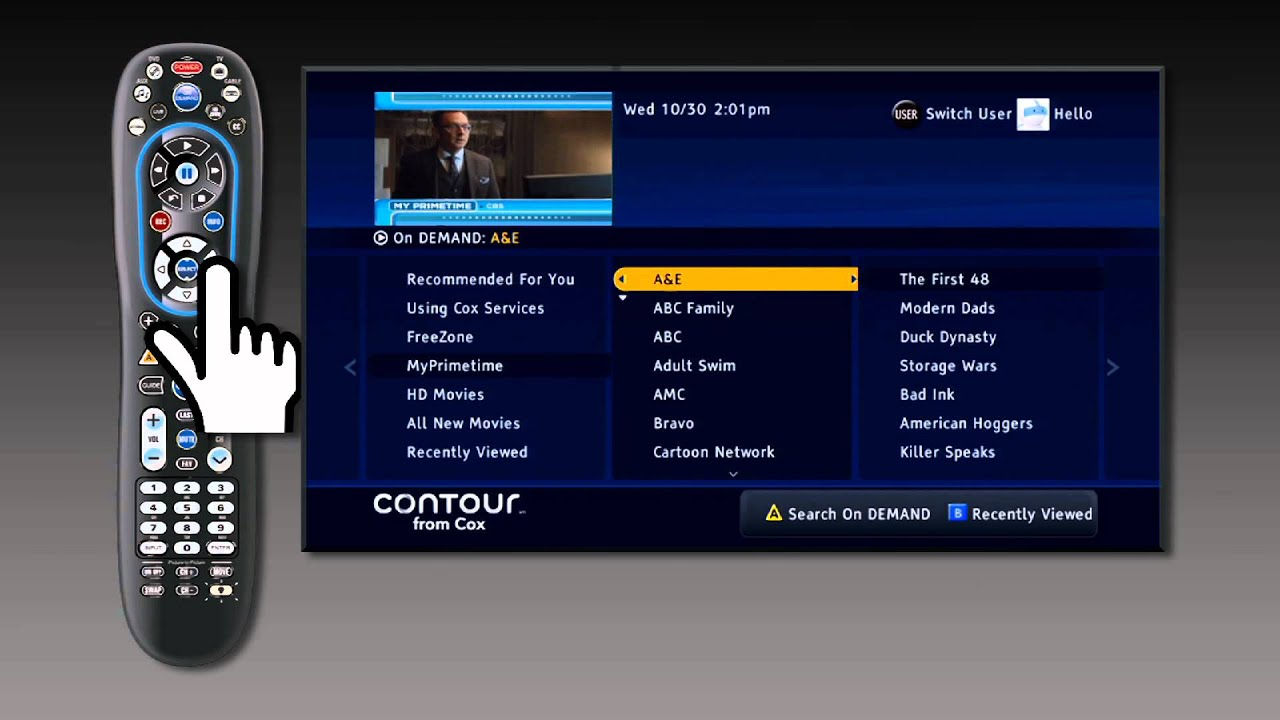 Contour From Cox How To View My Primetime On Demand 2013 Youtube