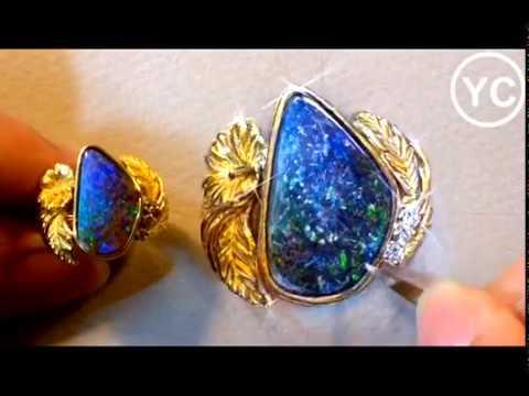 Jewelry Drawing - black opal ring
