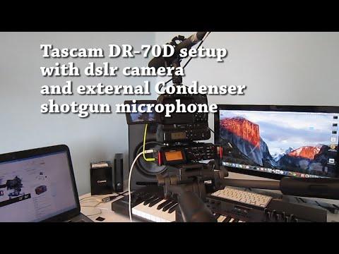 Tascam DR-70D setup with dslr camera and external Condenser shotgun microphone