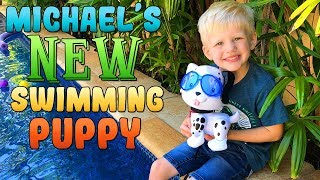 Michael's New Swimming Puppy Learns Colors!