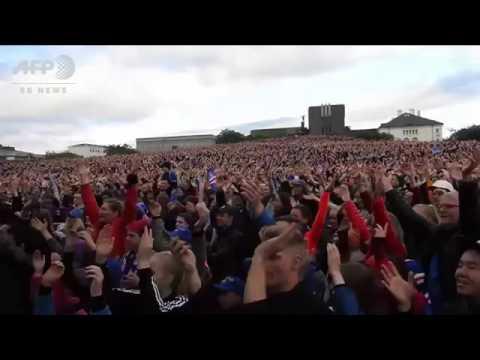 Celebration historical victory for Iceland