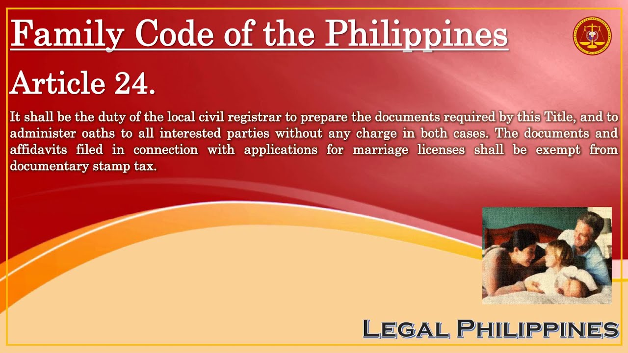 Family Code Of The Philippines Article John YouTube