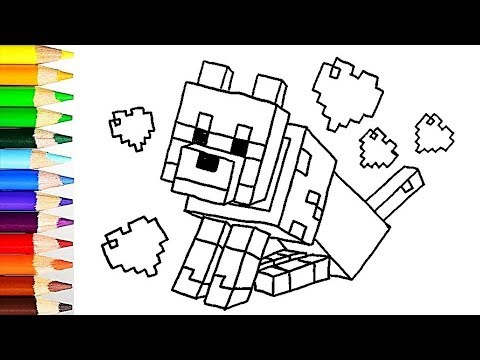 How to draw minecraft dog - colors for kids - learn colors ...