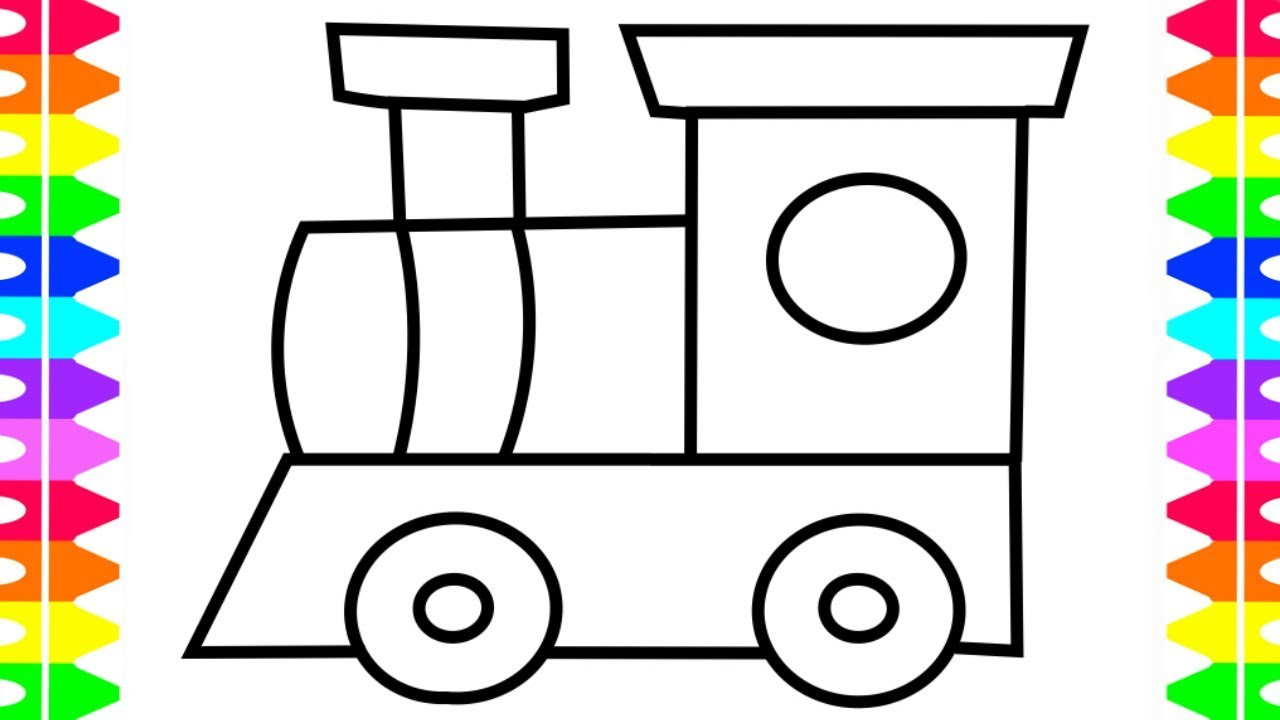 How to Draw Toy Train for Baby | DIY Coloring Book for Kids with ...