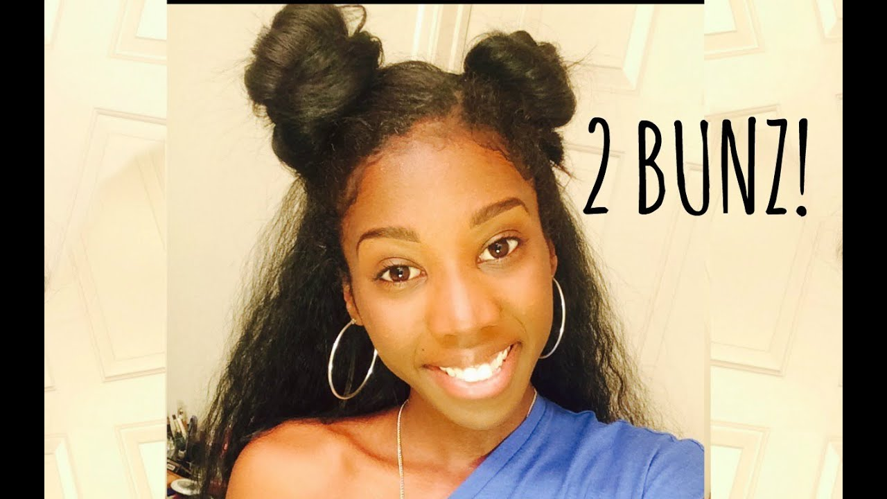 hair style free 2 buns hairstyle tutorial with wig 3952