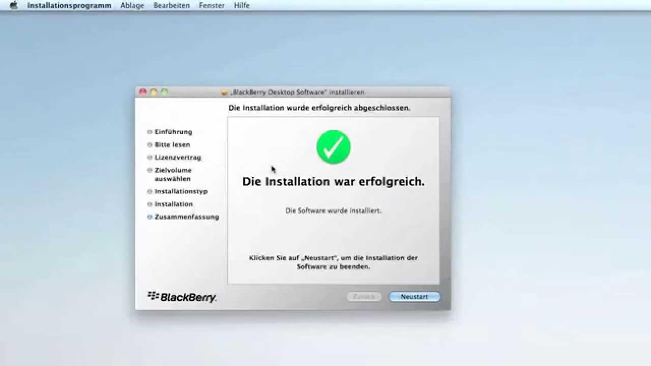 BlackBerry Desktopmanager Installing on a Mac