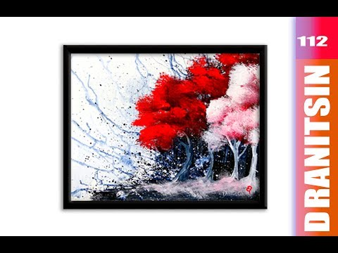 Explosion Of Colors, Red, White, & Black Abstract Landscape Painting, 112