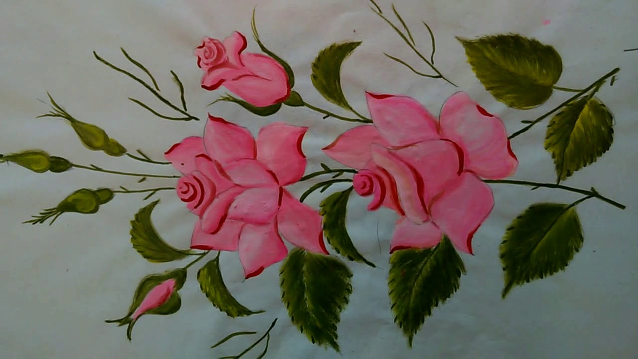 How To Paint Beautiful Rose Flower For Beginners Easy Painting Youtube