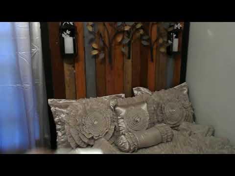 DIY: Completed Queen Size Headboard DIY With Lanterns & Metal Art By Miss Jones