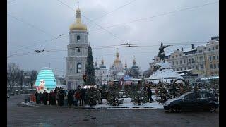 Софийский собор.Киев.Территория собора зимой.