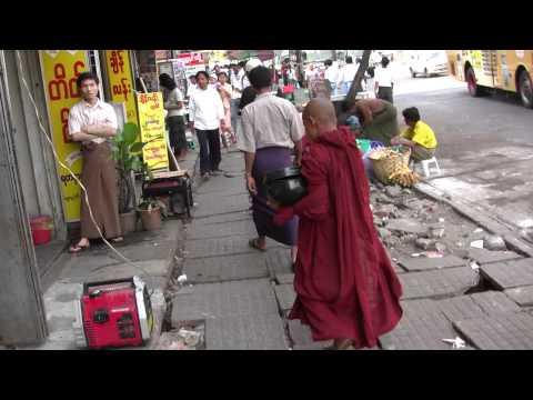 Walking down the street  in Yangon is an adventure