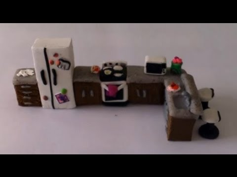 Detailed Polymer Clay Kitchen ~ (Dollhouse Size) - YouTube