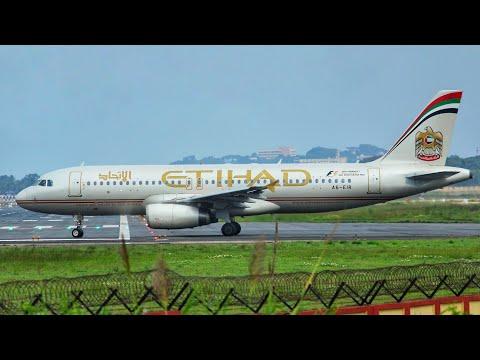 Etihad Airways Airbus A320 takeoff from Trivandrum International Airport [HD]