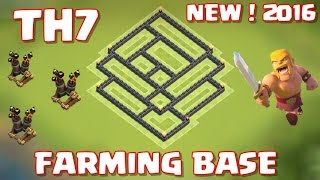 Clash of Clans Best Town Hall 7 Farming/Hybrid Base With 3 Air Defense - 2016 - NEW