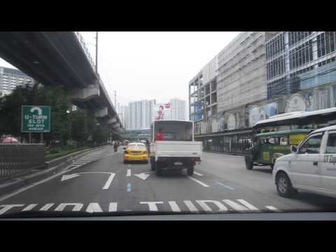 Driving on EDSA through Manila, Philippines