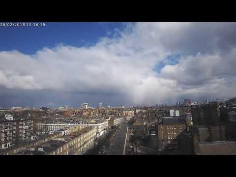 Heavy snow showers in London on 26/2/2018 (Timelapse)
