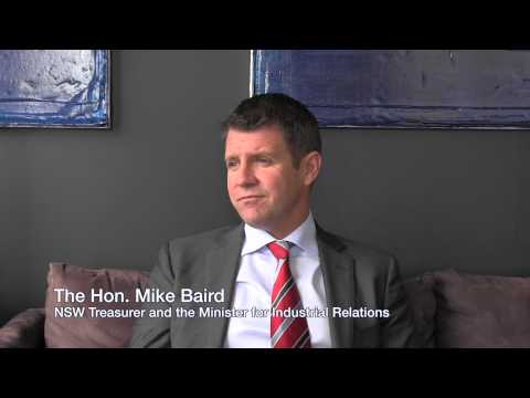 NSW Treasurer Mike Baird MP speaks with Finsia