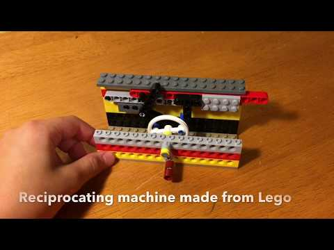 Reciprocating motion machine made from lego