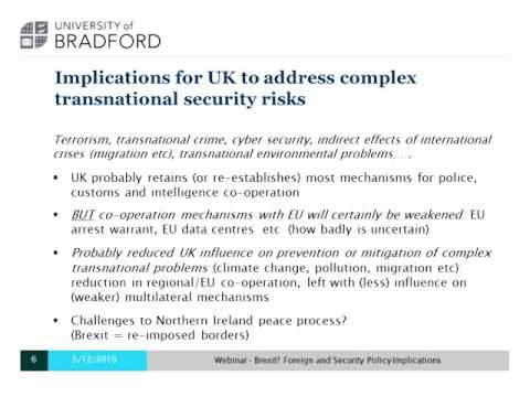 Webinar: Brexit? Foreign and Security Policy Implications